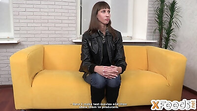moody girl acts at the porn casting