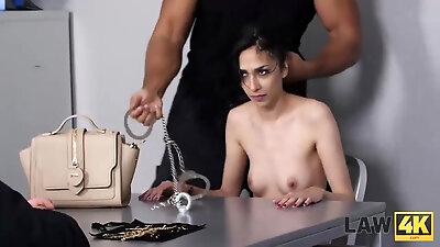 LAW4k. Teen babe with black hair receives hard pricks of cops in twat