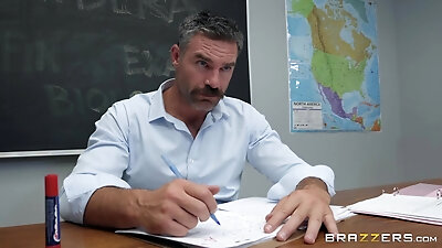 gray-haired teacher rubbing his student's wet pussy
