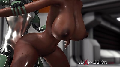 Sci-fi theme. Male Android Rams Hard A Hot ebony in the lab